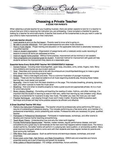 Choosing a Private Teacher